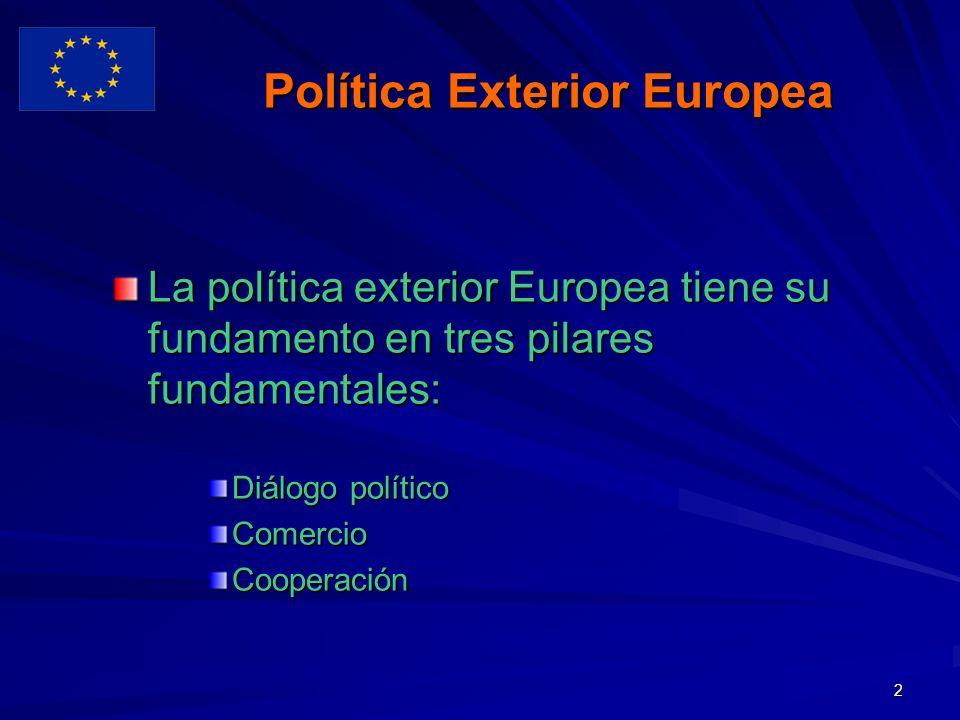 2 Política Exterior Europea La política exterior Europea tiene su fundamento en tres pilares fundamentales: Diálogo político ComercioCooperación