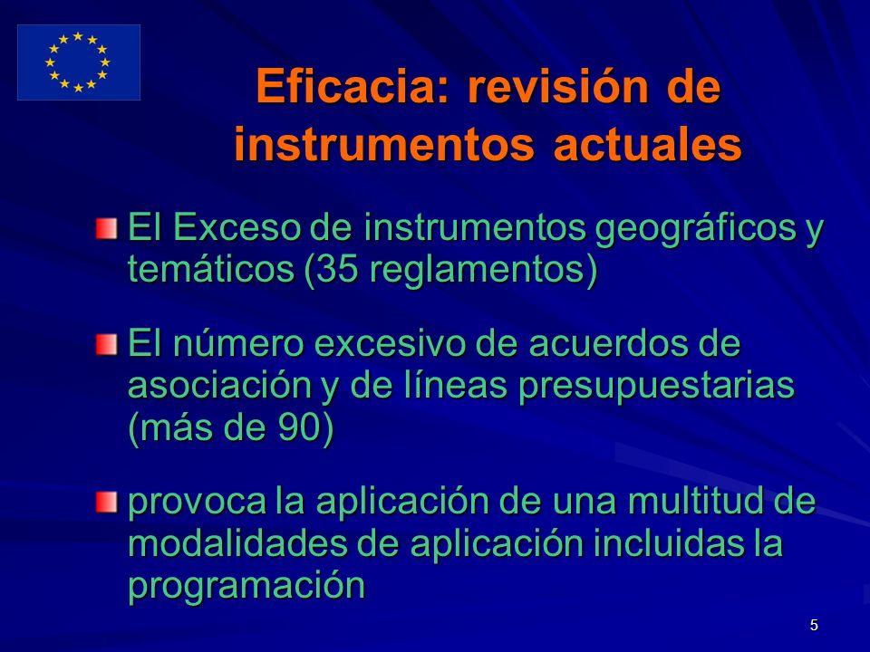 5 Eficacia: revisión de instrumentos actuales El Exceso de instrumentos geográficos y temáticos (35 reglamentos) El número excesivo de acuerdos de asociación y de líneas presupuestarias (más de 90) provoca la aplicación de una multitud de modalidades de aplicación incluidas la programación