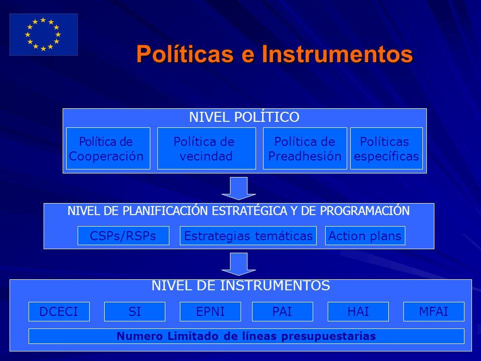 8 Políticas e Instrumentos NIVEL POLÍTICO NIVEL DE PLANIFICACIÓN ESTRATÉGICA Y DE PROGRAMACIÓN INSTRUMENTS AND IMPLEMENTATION LEVEL NIVEL DE INSTRUMENTOS DCECISIEPNIPAIHAIMFAI Numero Limitado de líneas presupuestarias CSPs/RSPsEstrategias temáticasAction plans Política de Cooperación Política de vecindad Política de Preadhesión Políticas específicas