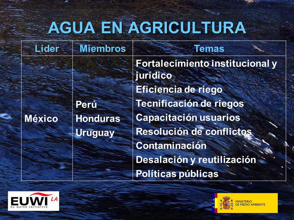 AGUA EN AGRICULTURA LiderMiembrosTemas México Perú Honduras Uruguay Fortalecimiento institucional y jurídico Eficiencia de riego Tecnificación de riegos Capacitación usuarios Resolución de conflictos Contaminación Desalación y reutilización Políticas públicas
