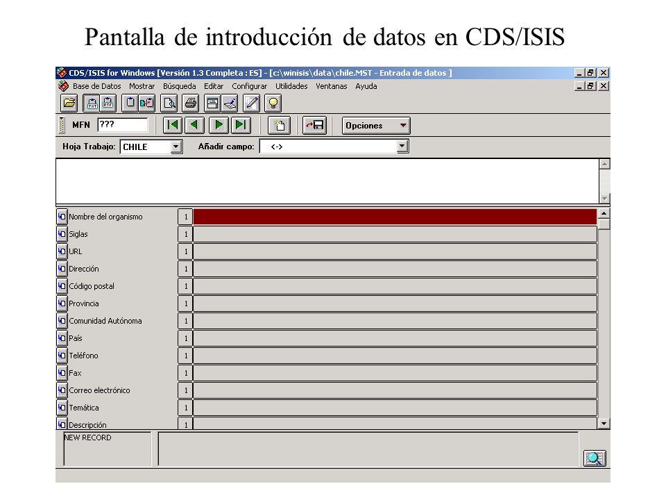 Pantalla de introducción de datos en CDS/ISIS