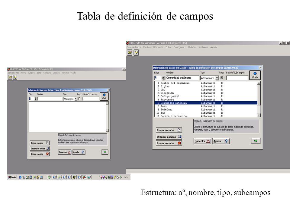 Tabla de definición de campos Estructura: nº, nombre, tipo, subcampos