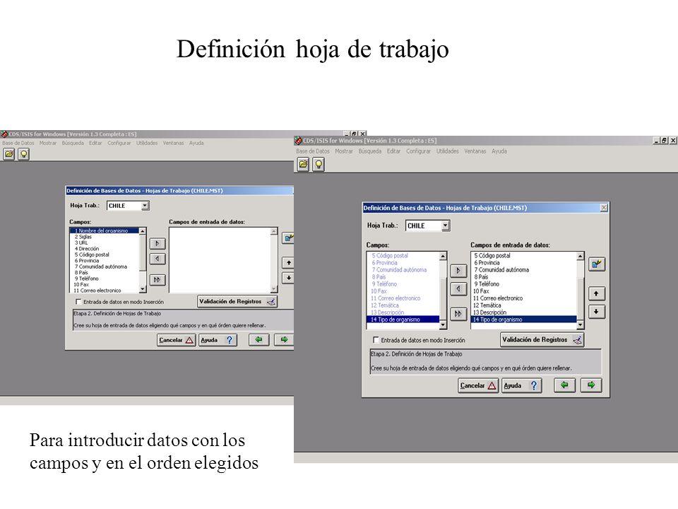 Definición hoja de trabajo Para introducir datos con los campos y en el orden elegidos
