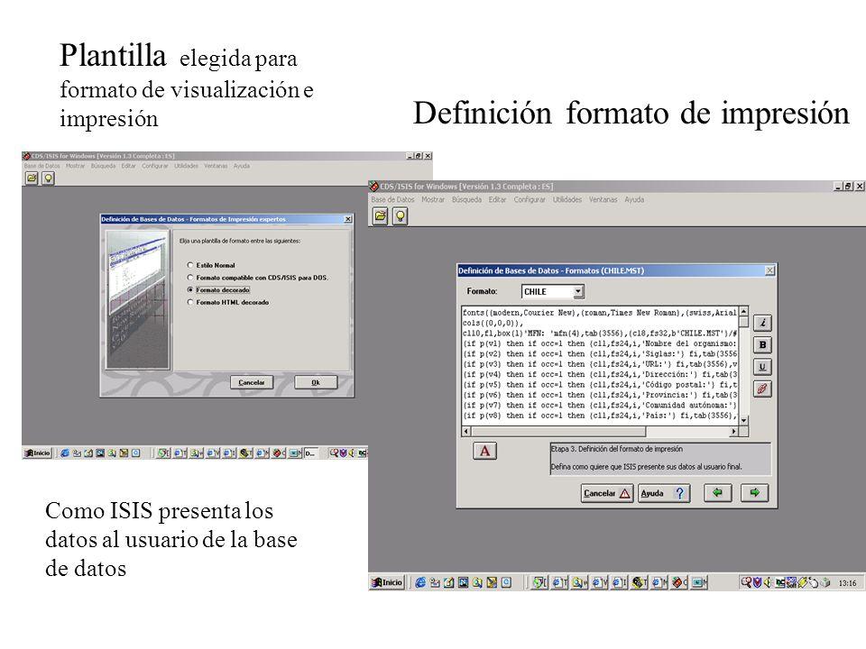 Plantilla elegida para formato de visualización e impresión Definición formato de impresión Como ISIS presenta los datos al usuario de la base de datos