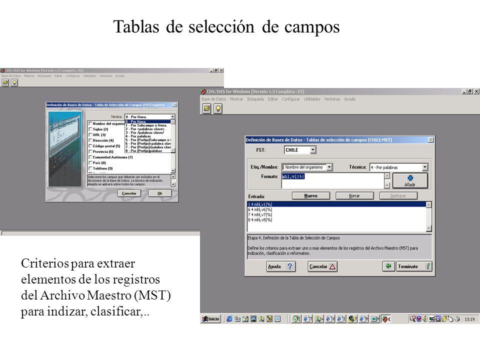 Tablas de selección de campos Criterios para extraer elementos de los registros del Archivo Maestro (MST) para indizar, clasificar,..