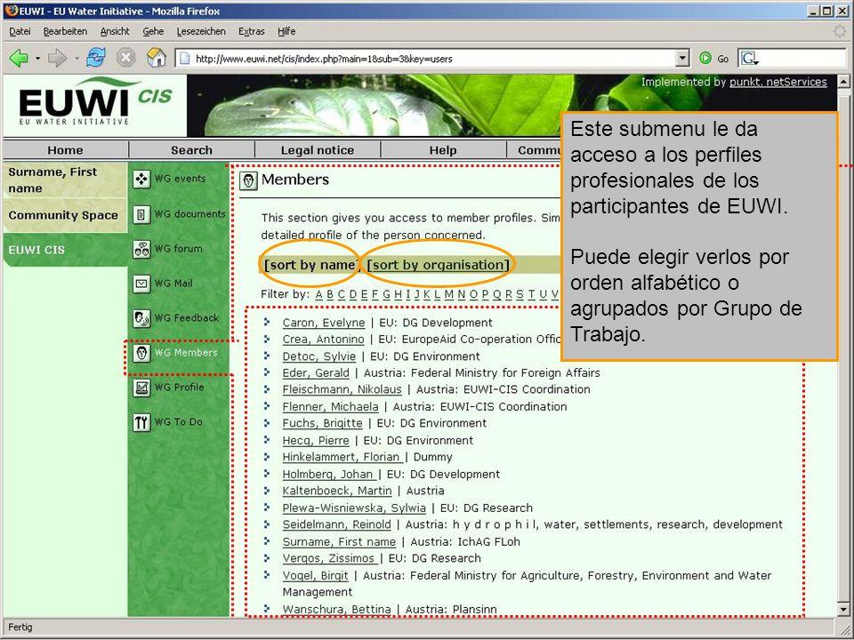 Este submenu le da acceso a los perfiles profesionales de los participantes de EUWI. Puede elegir verlos por orden alfabético o agrupados por Grupo de