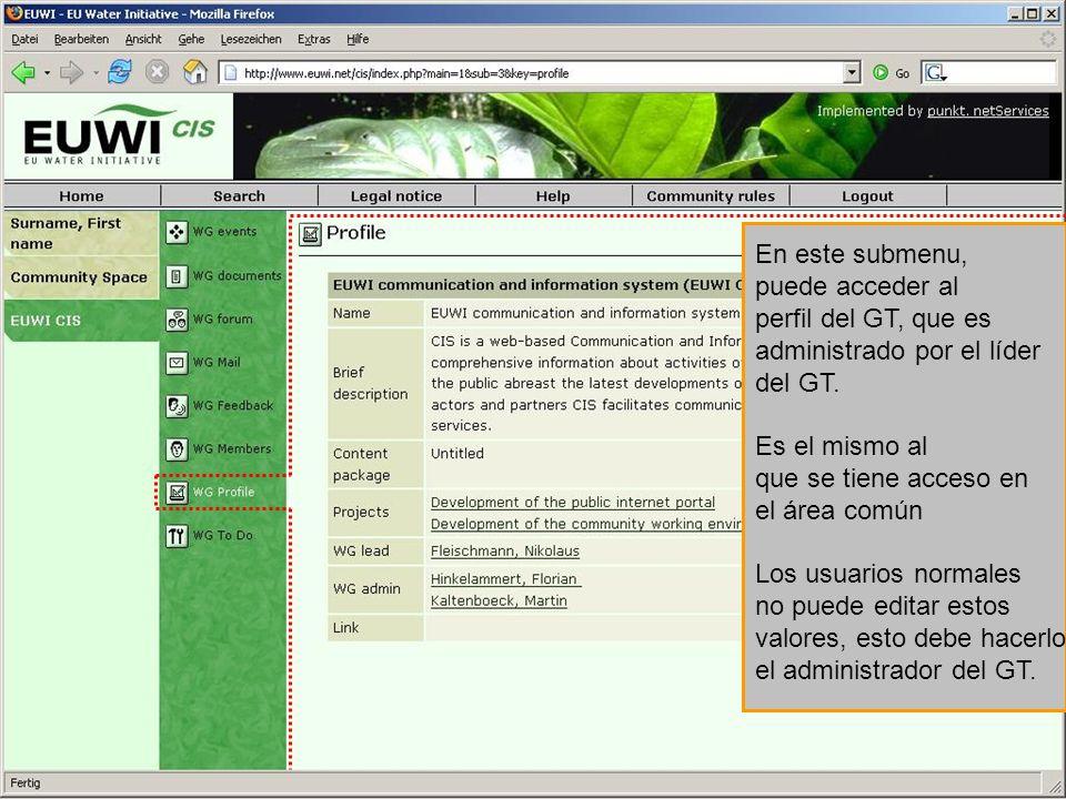 En este submenu, puede acceder al perfil del GT, que es administrado por el líder del GT. Es el mismo al que se tiene acceso en el área común Los usua