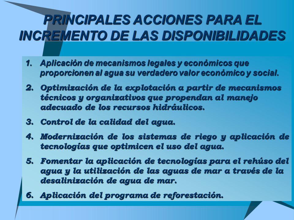 PRINCIPALES ACCIONES PARA EL INCREMENTO DE LAS DISPONIBILIDADES 1.Aplicación de mecanismos legales y económicos que proporcionen al agua su verdadero