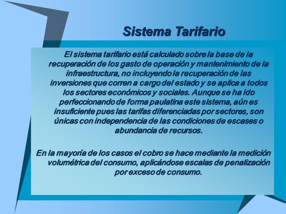 Sistema Tarifario El sistema tarifario está calculado sobre la base de la recuperación de los gasto de operación y mantenimiento de la infraestructura
