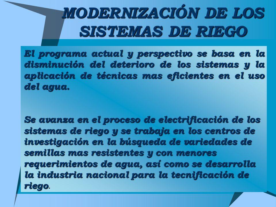MODERNIZACIÓN DE LOS SISTEMAS DE RIEGO El programa actual y perspectivo se basa en la disminución del deterioro de los sistemas y la aplicación de téc