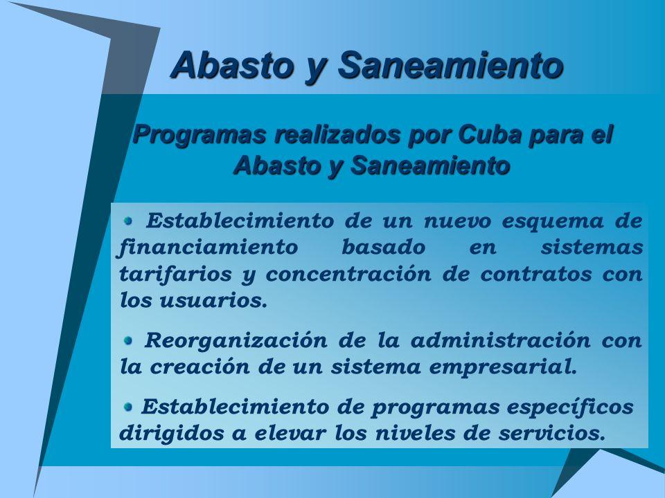 Abasto y Saneamiento Programas realizados por Cuba para el Abasto y Saneamiento Establecimiento de un nuevo esquema de financiamiento basado en sistem