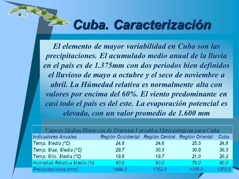 Cuba. Caracterización El elemento de mayor variabilidad en Cuba son las precipitaciones. El acumulado medio anual de la lluvia en el país es de 1.375m