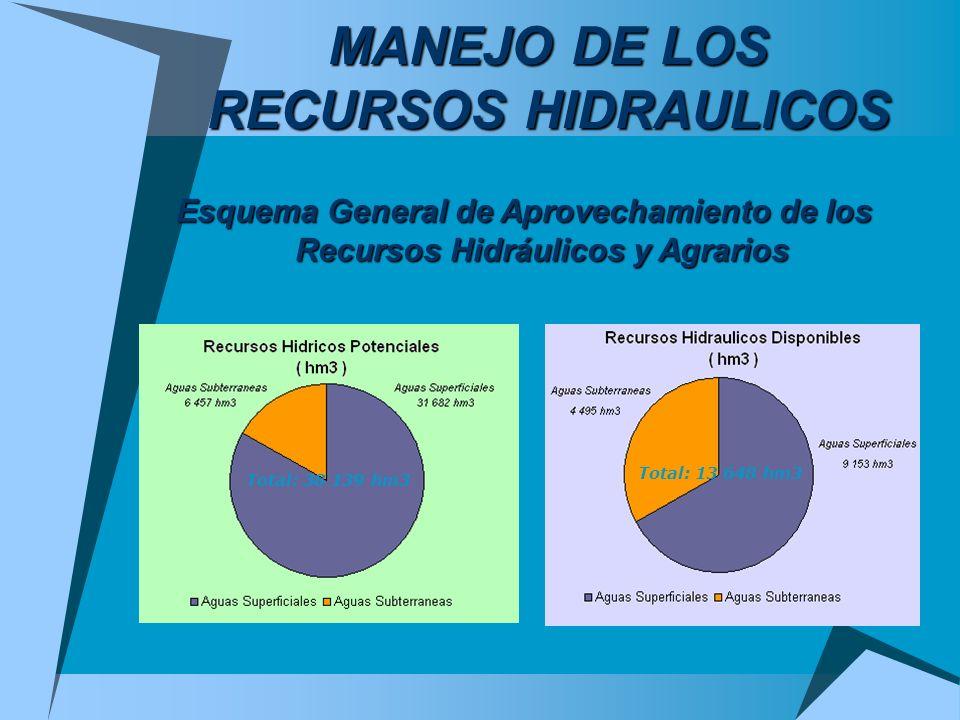 MANEJO DE LOS RECURSOS HIDRAULICOS Esquema General de Aprovechamiento de los Recursos Hidráulicos y Agrarios Total: 13 648 hm3 Total: 38 139 hm3