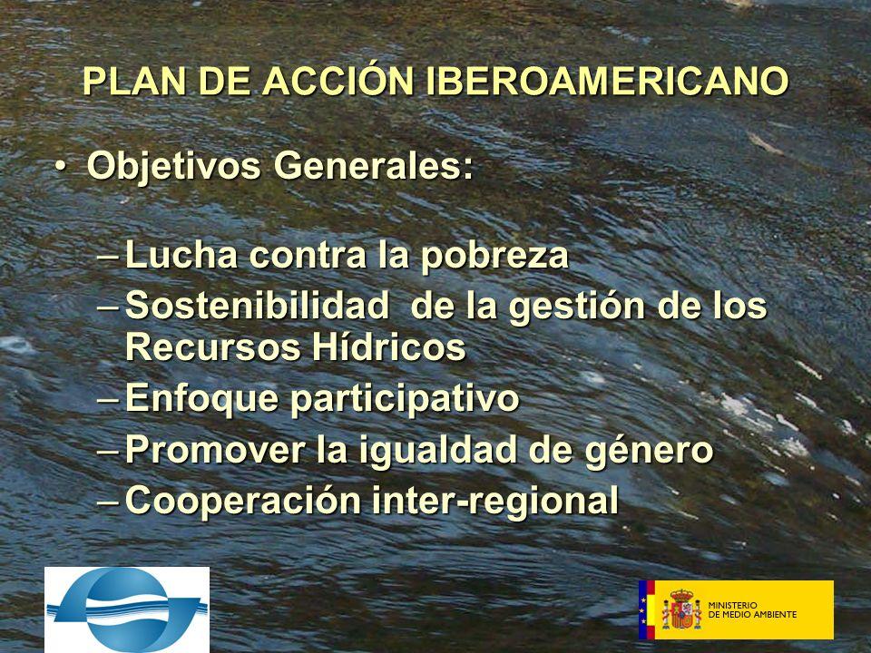 Objetivos Generales:Objetivos Generales: –Lucha contra la pobreza –Sostenibilidad de la gestión de los Recursos Hídricos –Enfoque participativo –Promover la igualdad de género –Cooperación inter-regional PLAN DE ACCIÓN IBEROAMERICANO