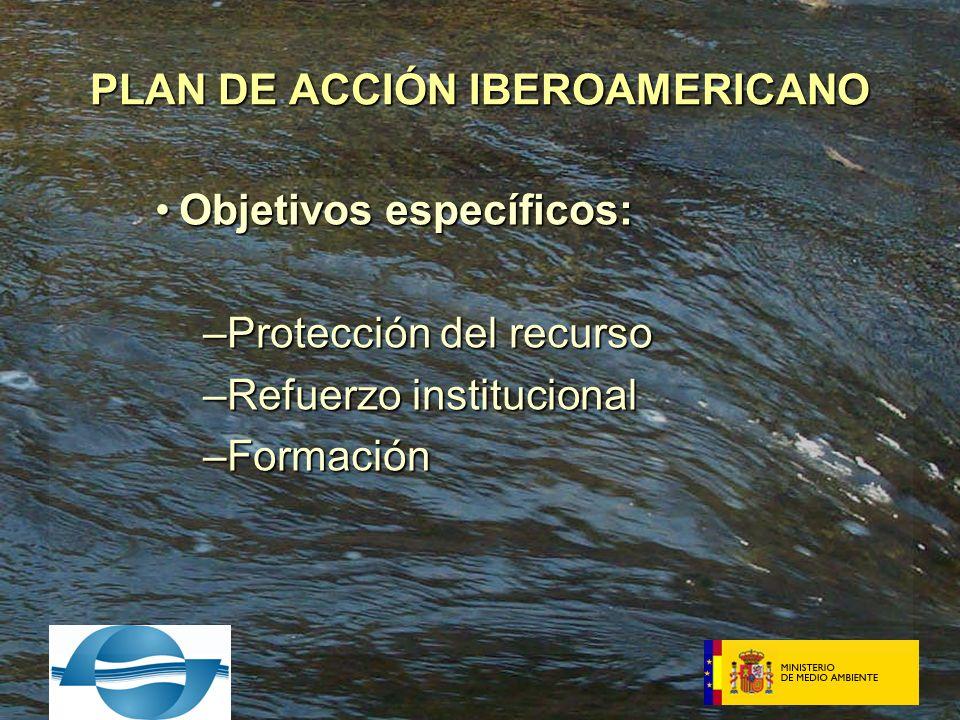 Objetivos específicos:Objetivos específicos: –Protección del recurso –Refuerzo institucional –Formación