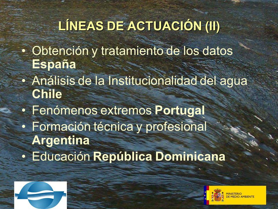 Obtención y tratamiento de los datos España Análisis de la Institucionalidad del agua Chile Fenómenos extremos Portugal Formación técnica y profesional Argentina Educación República Dominicana LÍNEAS DE ACTUACIÓN (II)
