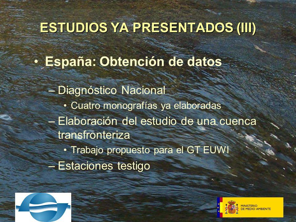 España: Obtención de datos –Diagnóstico Nacional Cuatro monografías ya elaboradas –Elaboración del estudio de una cuenca transfronteriza Trabajo propuesto para el GT EUWI –Estaciones testigo ESTUDIOS YA PRESENTADOS (III)