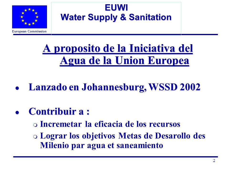 European Commission 3 EUWI Water Supply & Sanitation Enfoque de la EUWI l Reforzar las políticas y un compromiso para la acción l Promover el mejoramiento de la gestión del agua l Mejorar la eficiencia y la efectividad en la gestión del agua l Fortalecer la coordinación de la cuenca de los rios l Identificar recursos financieros adicionales