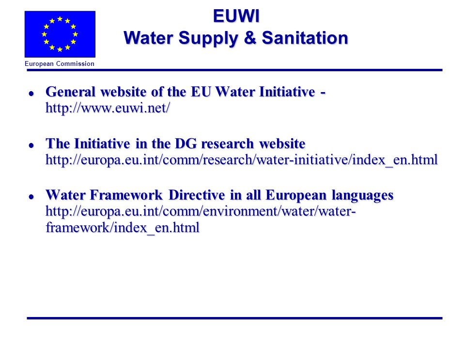 European Commission l General website of the EU Water Initiative - http://www.euwi.net/ l The Initiative in the DG research website http://europa.eu.int/comm/research/water-initiative/index_en.html l Water Framework Directive in all European languages http://europa.eu.int/comm/environment/water/water- framework/index_en.html EUWI Water Supply & Sanitation