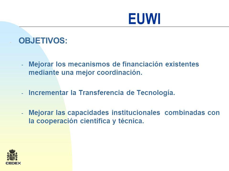 EUWI La Iniciativa pretende: Reforzar el compromiso político sobre los temas del agua.