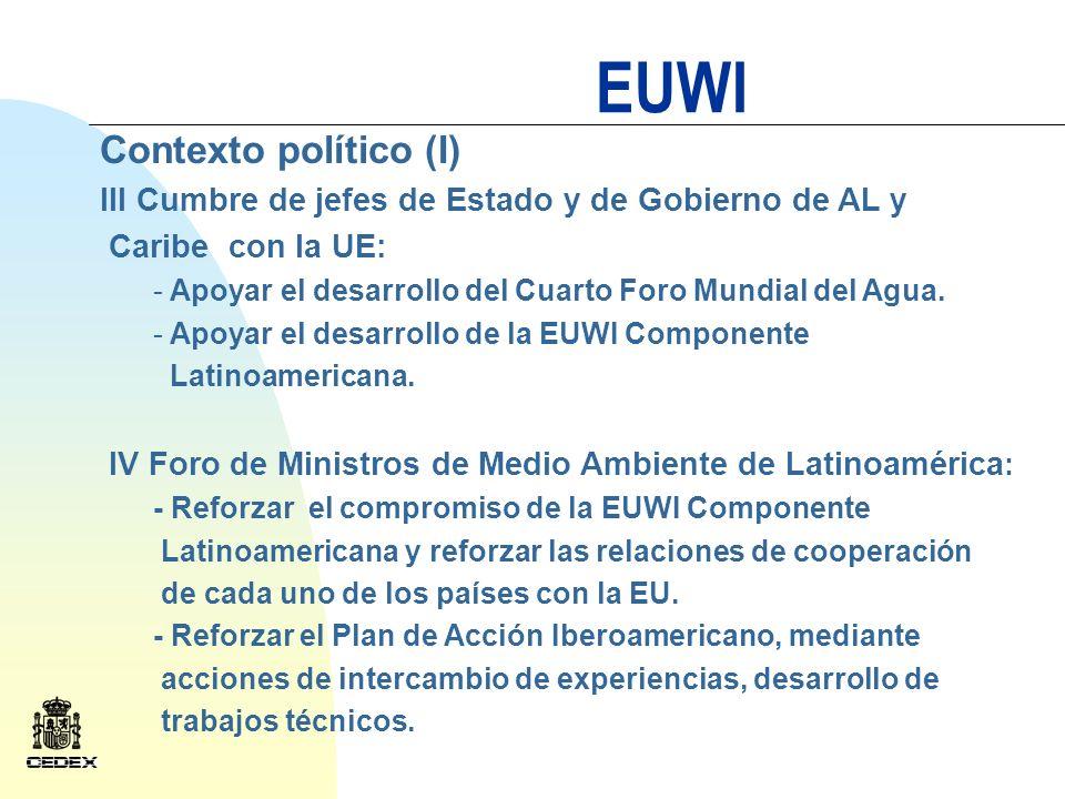 EUWI Contexto político (II) Conferencia de Directores Iberoamericanos del Agua: - Desarrollo de trabajos técnicos.