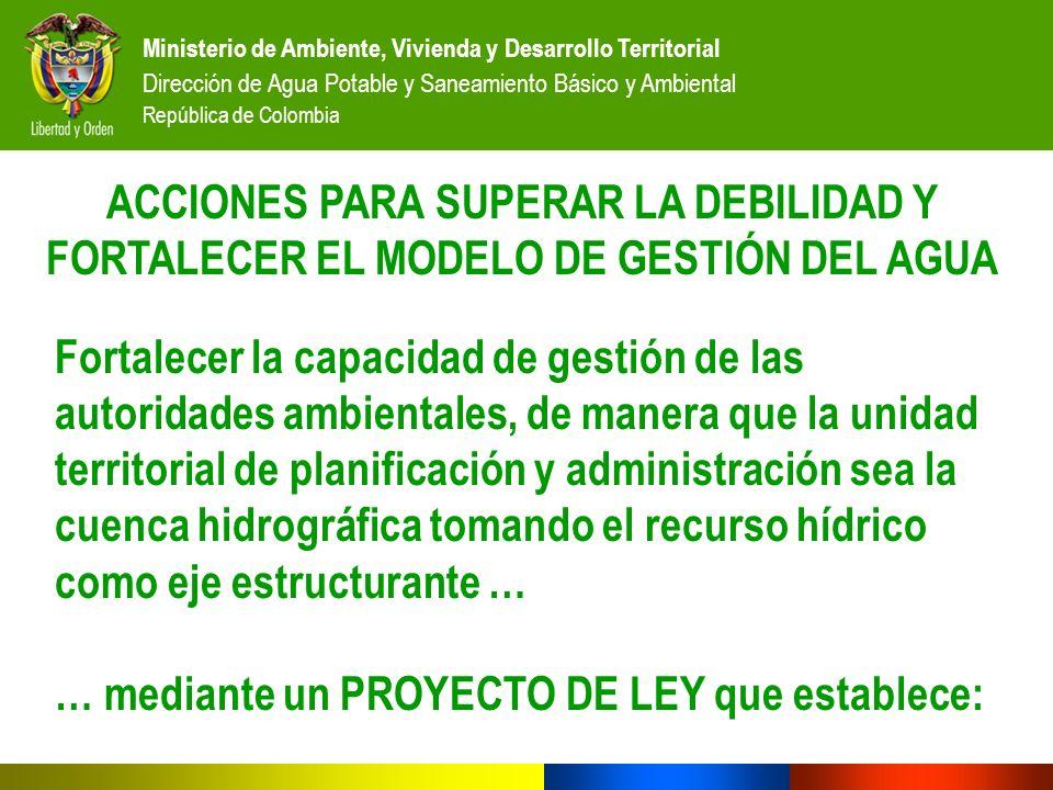 Ministerio de Ambiente, Vivienda y Desarrollo Territorial Dirección de Agua Potable y Saneamiento Básico y Ambiental República de Colombia ACCIONES PA