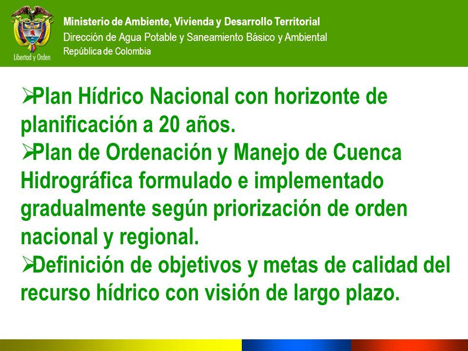 Ministerio de Ambiente, Vivienda y Desarrollo Territorial Dirección de Agua Potable y Saneamiento Básico y Ambiental República de Colombia Plan Hídric