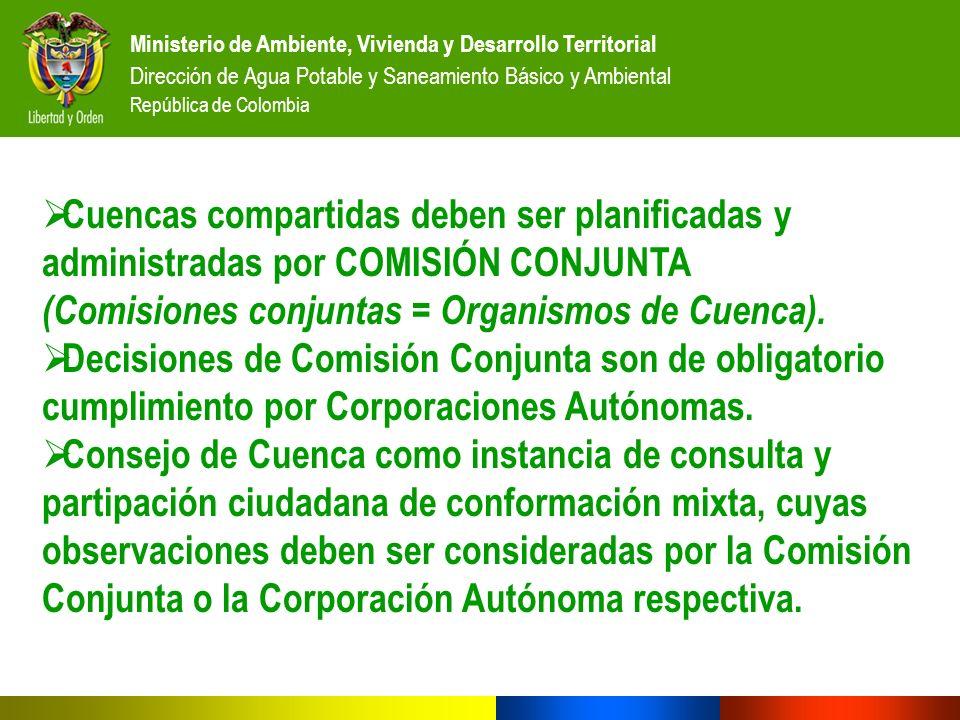Ministerio de Ambiente, Vivienda y Desarrollo Territorial Dirección de Agua Potable y Saneamiento Básico y Ambiental República de Colombia Cuencas com