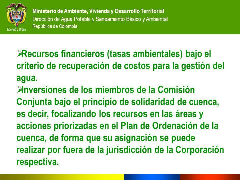 Ministerio de Ambiente, Vivienda y Desarrollo Territorial Dirección de Agua Potable y Saneamiento Básico y Ambiental República de Colombia Recursos fi