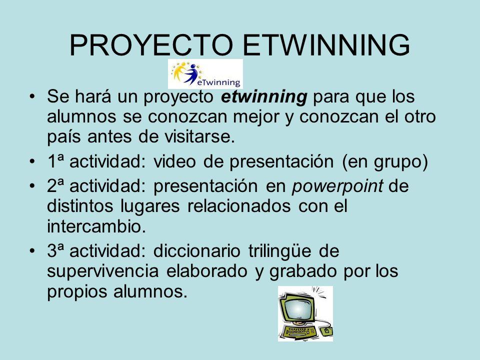 PROYECTO ETWINNING Se hará un proyecto etwinning para que los alumnos se conozcan mejor y conozcan el otro país antes de visitarse. 1ª actividad: vide