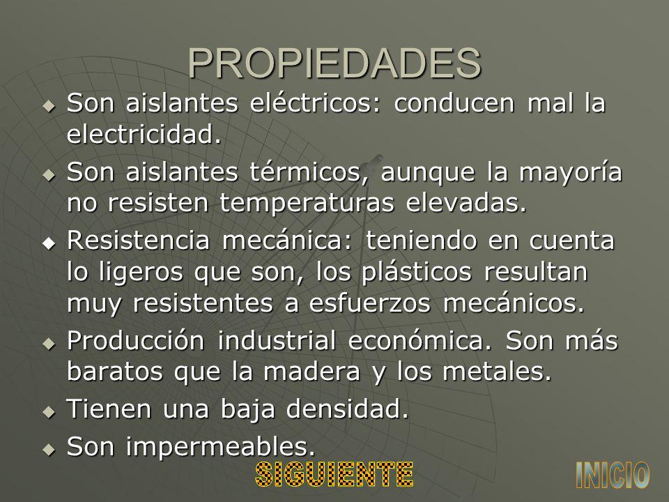 PROPIEDADES Son aislantes eléctricos: conducen mal la electricidad.
