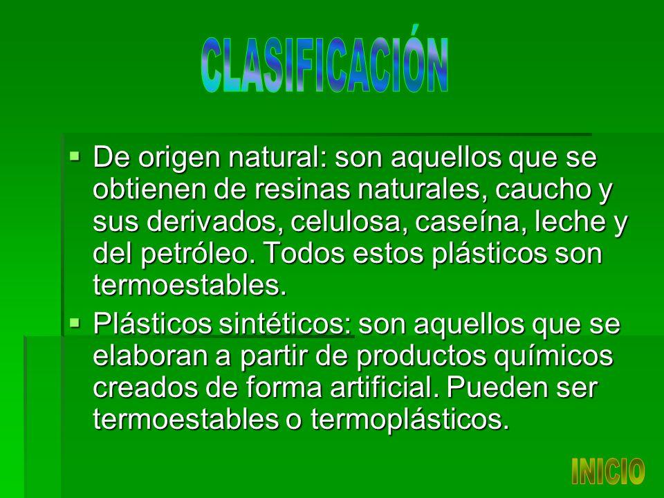 De origen natural: son aquellos que se obtienen de resinas naturales, caucho y sus derivados, celulosa, caseína, leche y del petróleo.