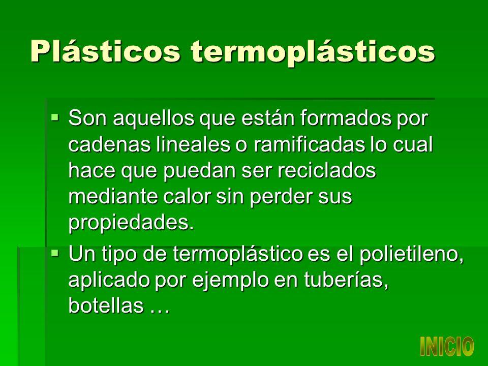 Plásticos termoplásticos Son aquellos que están formados por cadenas lineales o ramificadas lo cual hace que puedan ser reciclados mediante calor sin perder sus propiedades.