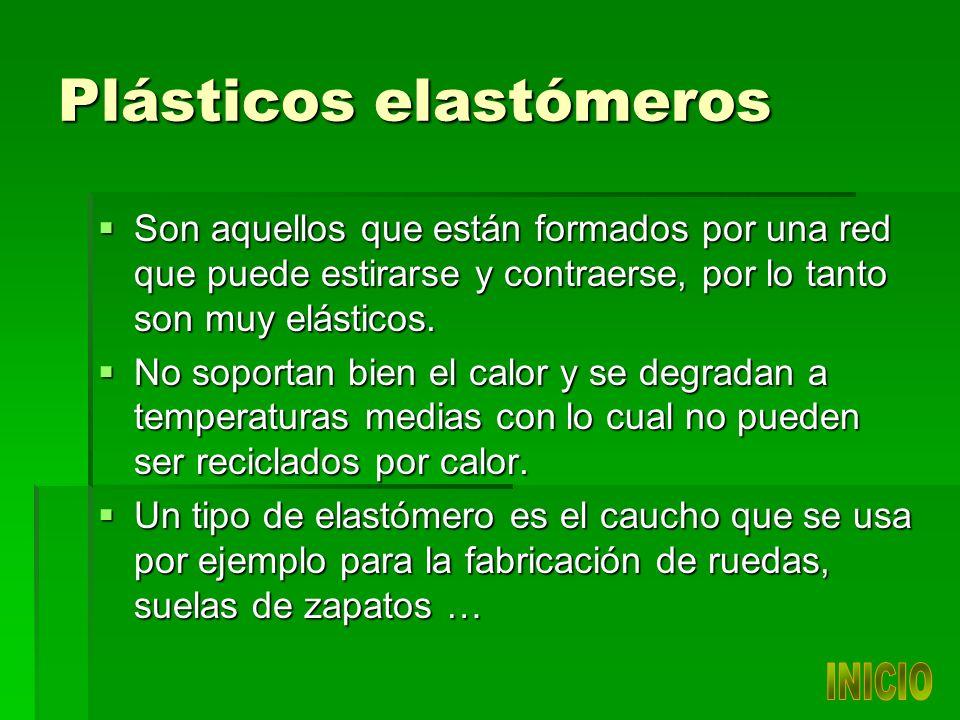 Plásticos elastómeros Son aquellos que están formados por una red que puede estirarse y contraerse, por lo tanto son muy elásticos.