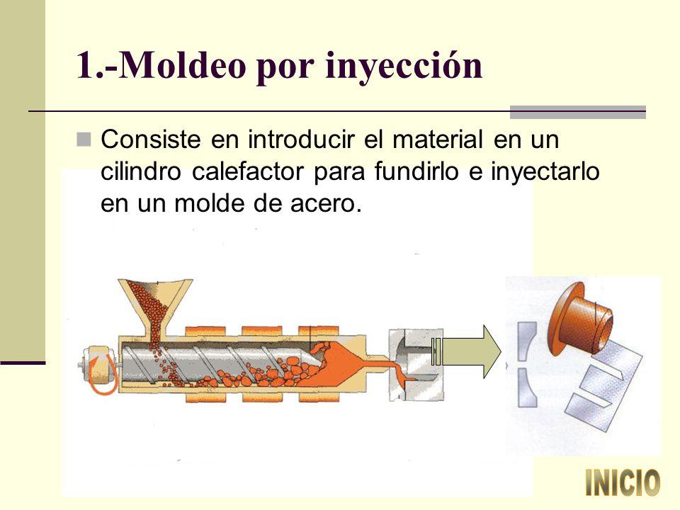 1.-Moldeo por inyección Consiste en introducir el material en un cilindro calefactor para fundirlo e inyectarlo en un molde de acero.