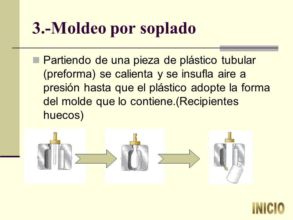 3.-Moldeo por soplado Partiendo de una pieza de plástico tubular (preforma) se calienta y se insufla aire a presión hasta que el plástico adopte la forma del molde que lo contiene.(Recipientes huecos)