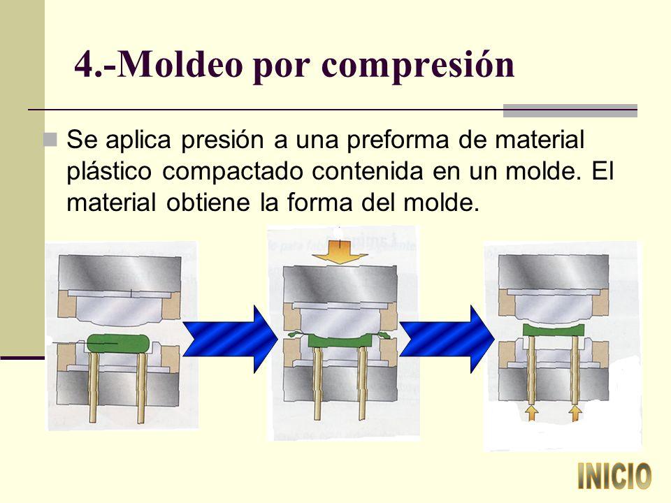 4.-Moldeo por compresión Se aplica presión a una preforma de material plástico compactado contenida en un molde.