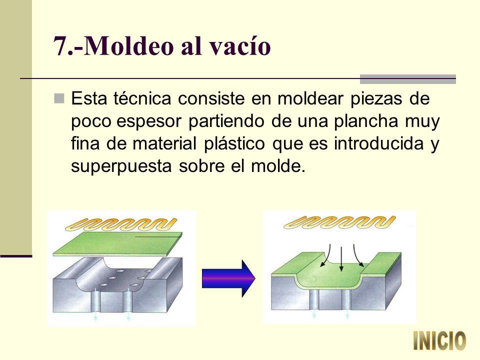 7.-Moldeo al vacío Esta técnica consiste en moldear piezas de poco espesor partiendo de una plancha muy fina de material plástico que es introducida y superpuesta sobre el molde.