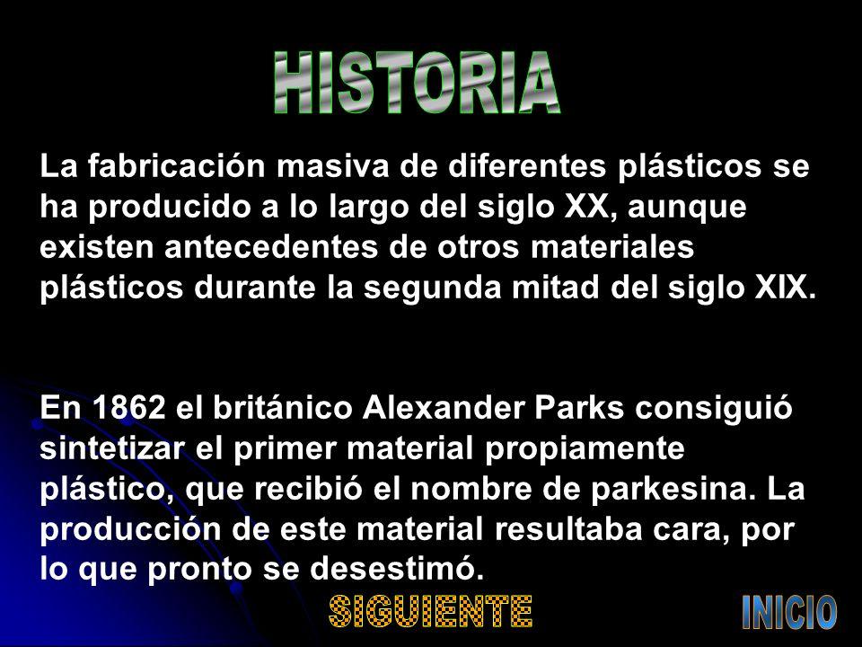 La fabricación masiva de diferentes plásticos se ha producido a lo largo del siglo XX, aunque existen antecedentes de otros materiales plásticos durante la segunda mitad del siglo XIX.