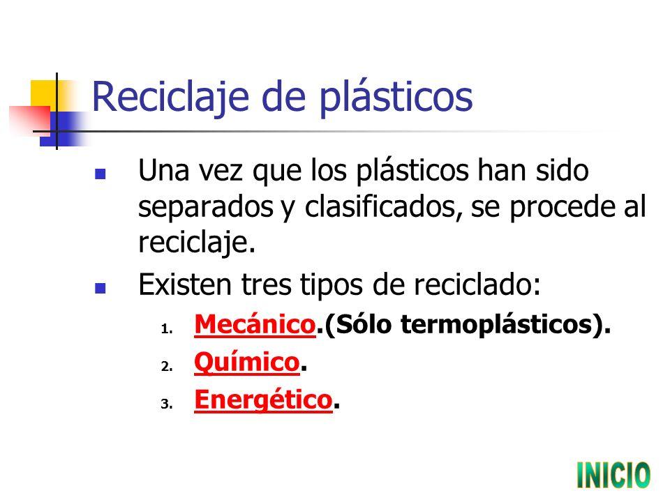 Reciclaje de plásticos Una vez que los plásticos han sido separados y clasificados, se procede al reciclaje.