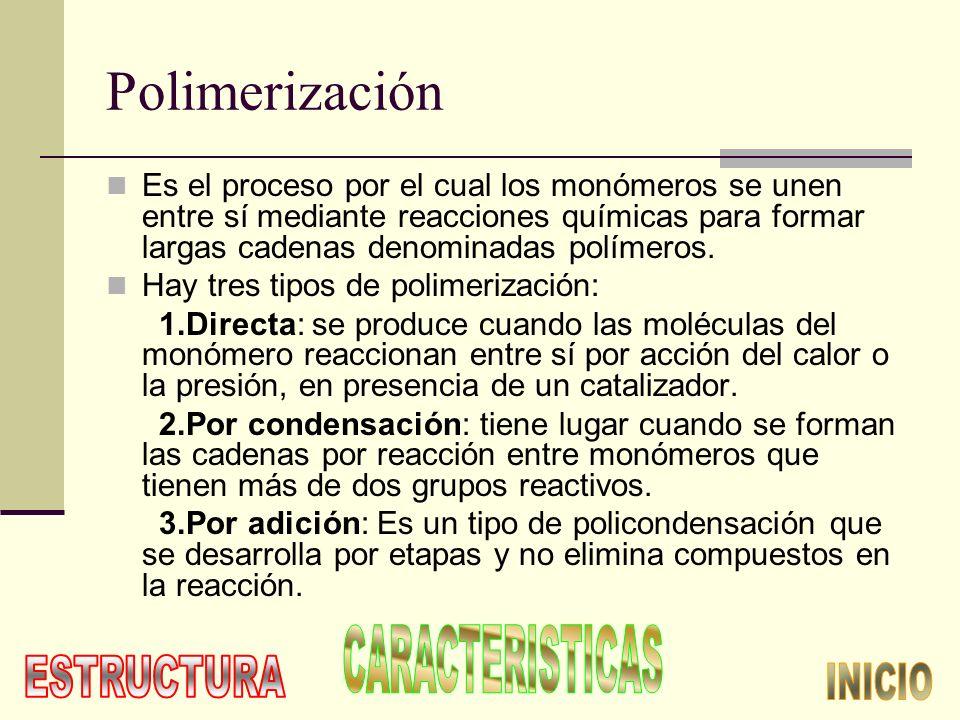 Polimerización Es el proceso por el cual los monómeros se unen entre sí mediante reacciones químicas para formar largas cadenas denominadas polímeros.