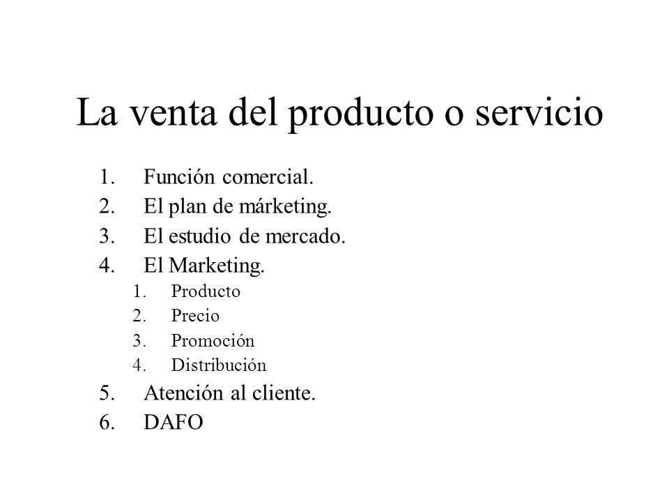 La venta del producto o servicio 1.Función comercial. 2.El plan de márketing. 3.El estudio de mercado. 4.El Marketing. 1.Producto 2.Precio 3.Promoción