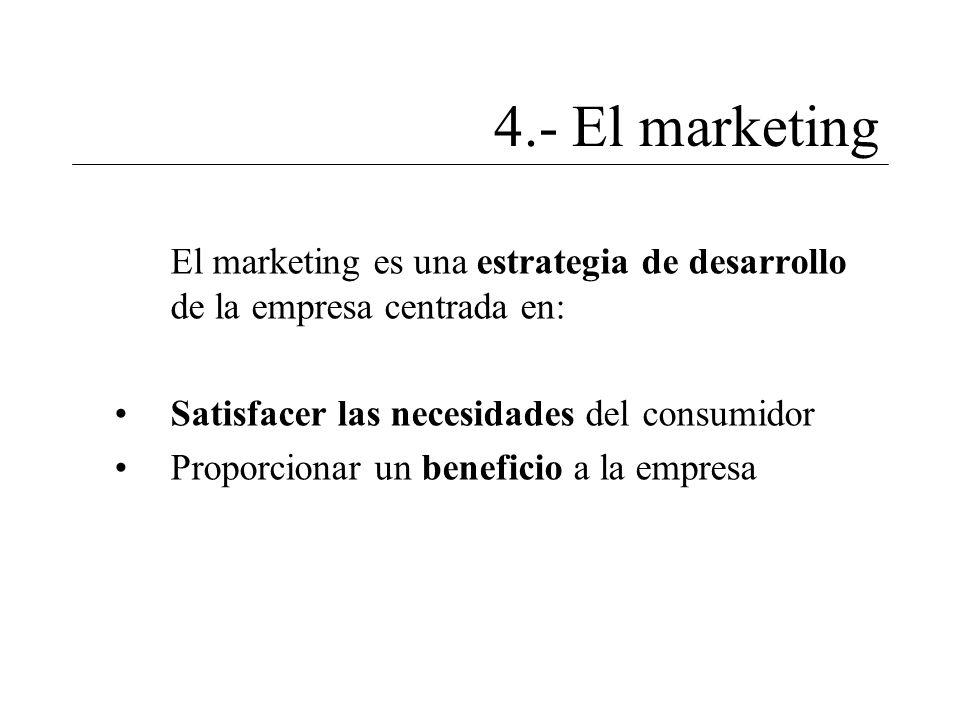 4.- El marketing El marketing es una estrategia de desarrollo de la empresa centrada en: Satisfacer las necesidades del consumidor Proporcionar un ben