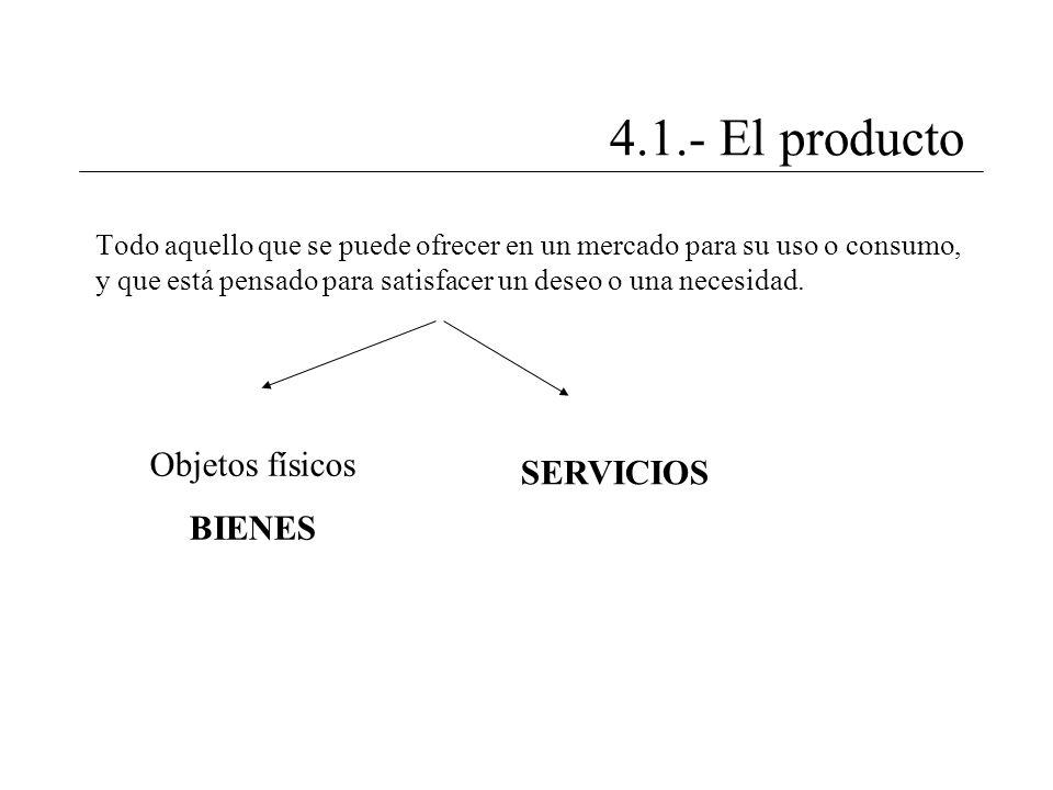 4.1.- El producto Todo aquello que se puede ofrecer en un mercado para su uso o consumo, y que está pensado para satisfacer un deseo o una necesidad.