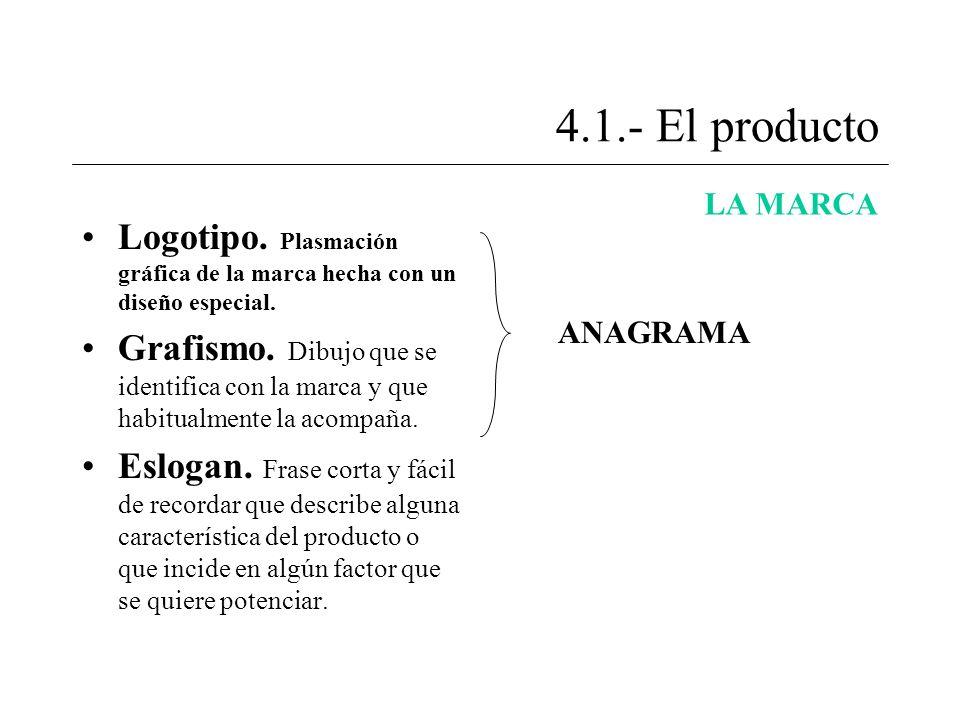 4.1.- El producto LA MARCA Logotipo. Plasmación gráfica de la marca hecha con un diseño especial. Grafismo. Dibujo que se identifica con la marca y qu