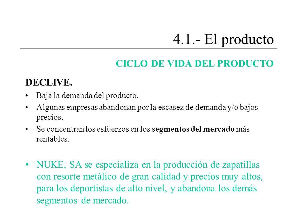 4.1.- El producto CICLO DE VIDA DEL PRODUCTO DECLIVE. Baja la demanda del producto. Algunas empresas abandonan por la escasez de demanda y/o bajos pre