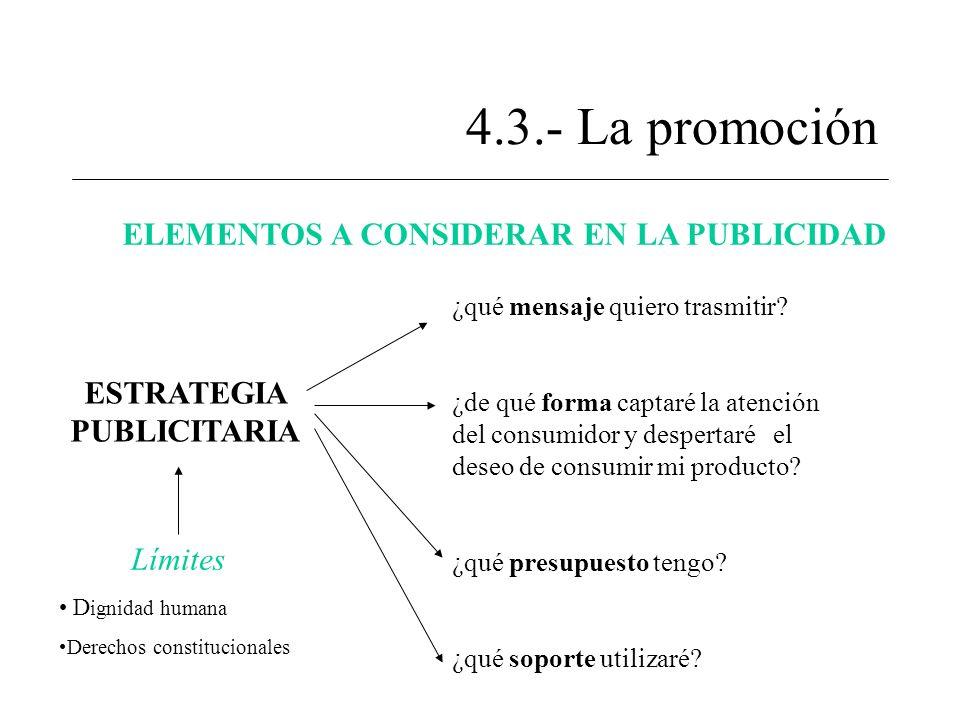 4.3.- La promoción ELEMENTOS A CONSIDERAR EN LA PUBLICIDAD ESTRATEGIA PUBLICITARIA ¿qué mensaje quiero trasmitir? ¿de qué forma captaré la atención de
