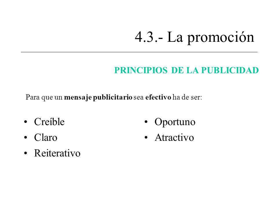 4.3.- La promoción Creíble Claro Reiterativo Oportuno Atractivo PRINCIPIOS DE LA PUBLICIDAD Para que un mensaje publicitario sea efectivo ha de ser: