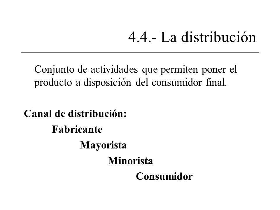 4.4.- La distribución Conjunto de actividades que permiten poner el producto a disposición del consumidor final. Canal de distribución: Fabricante May