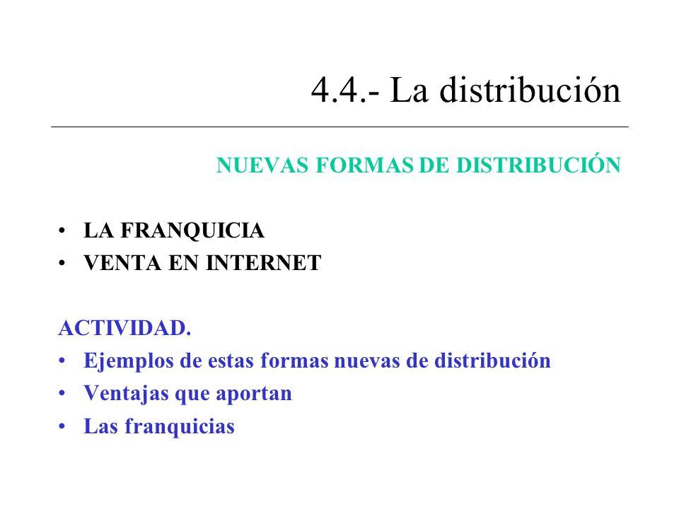 4.4.- La distribución NUEVAS FORMAS DE DISTRIBUCIÓN LA FRANQUICIA VENTA EN INTERNET ACTIVIDAD. Ejemplos de estas formas nuevas de distribución Ventaja